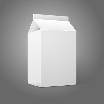 Realistic small white blank paper package for milk, juice, cocktail etc.