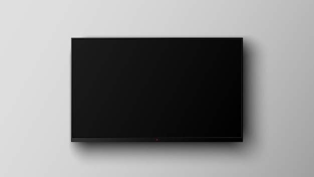 Realistic smart led television screen on gray background
