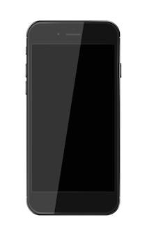 검은 화면이 흰색 배경에 고립 된 현실적인 스마트 전화. 삽화.