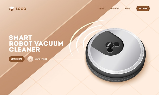 Realistic smart robot vacuum cleaner on brown abstract background