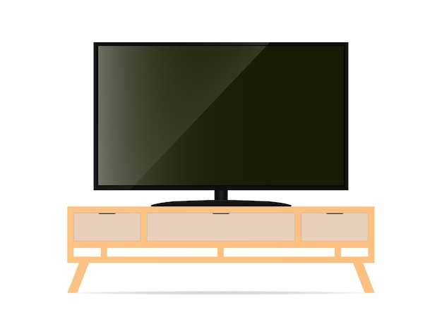 Realistic smart tv on the table.  illustration.