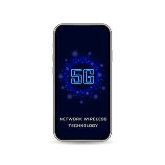 Realistic smartphone, 5g wireless internet wifi connection. new generation of high speed network