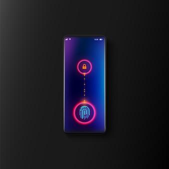 Реалистичный смартфон и сканирование отпечатков пальцев на экране, концепция кибер-технологий безопасности.