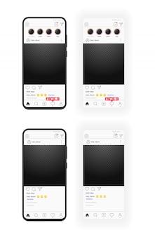 透明なフォトフレームを持つ現実的なスマートフォンとソーシャルメディアテンプレート。スマートフォン。チャンネル登録者のフィードバックは投票を上にスワイプします。透明な背景。
