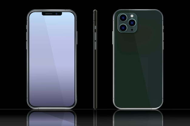 Realistic smartphone in different views