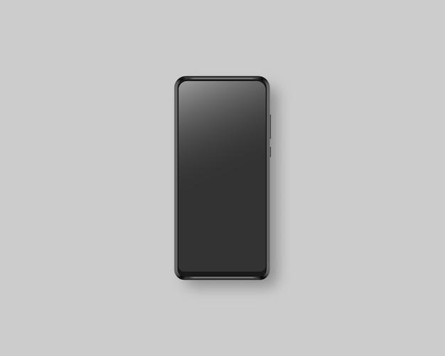 リアルなスマートフォンディスプレイ。空白の画面を持つ現代のスマートフォン。リアルなイラスト。