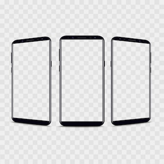 Realistic smartphone from different views.