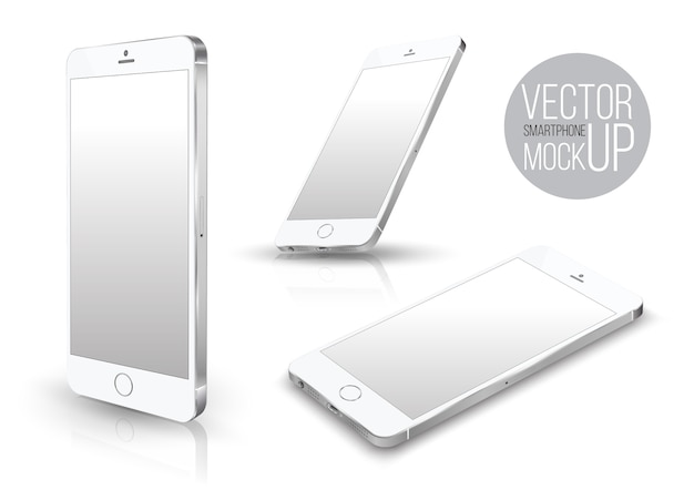 Realistic smartphone front perspective set