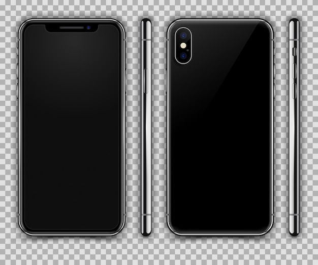 Iphone xに似た現実的なスマートフォン。フロント、リア、サイドビュー