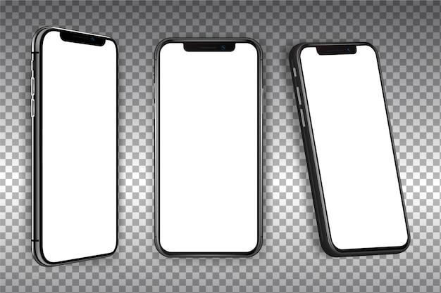 さまざまなビューでの現実的なスマートフォン