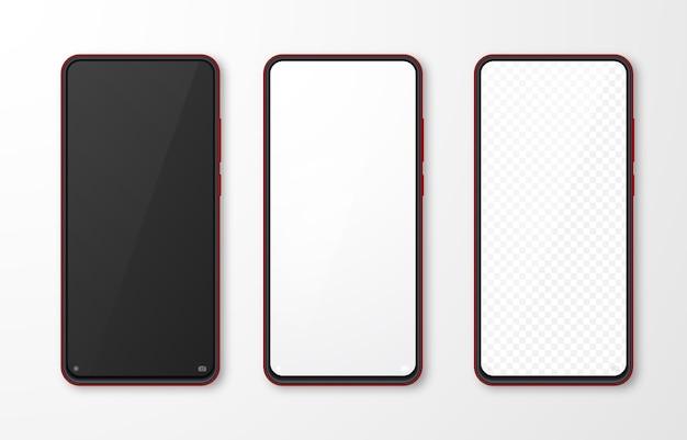 リアルなスマートフォンのモックアップセット。白灰色の背景に分離された携帯電話のディスプレイ。 3dテンプレートイラスト。