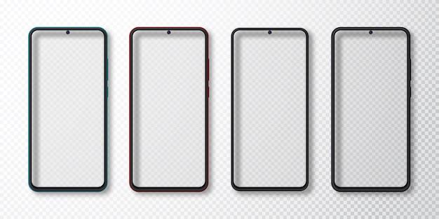 현실적인 스마트 폰 세트를 모의. 휴대 전화 디스플레이에 고립 된 흰색 회색 배경. 3d 템플릿 그림입니다.