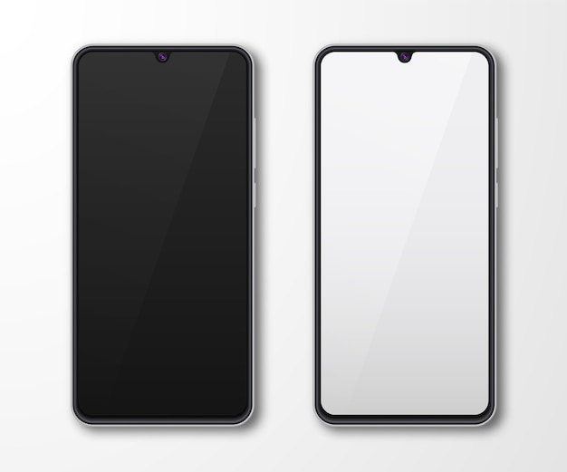 Realistic smartphone mock up set. mobile phone display isolated on white gray background. 3d template illustration.