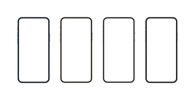Реалистичный макет смартфона, синий, золотой, серебристый и черный, концепция мобильного изолирования, 3d экран телефона