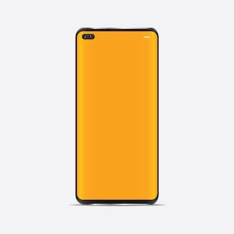 現実的なスマートフォンのモックアップ。分離された空白のディスプレイ付き携帯電話フレーム