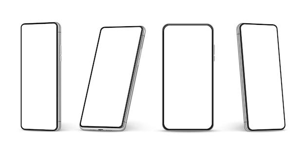 リアルなスマートフォンのモックアップ。空白の白い画面の携帯電話、さまざまな画角の携帯電話ベクトル3d分離テンプレート。イラストスマートフォン画面、電話空白