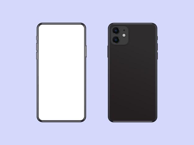 현실적인 스마트 폰 모형, 전면 및 후면 모습. 앱 ux 디자인을 보여주기위한 휴대폰 템플릿.