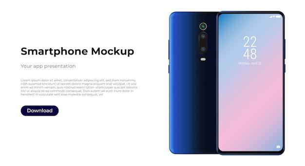 現実的なスマートフォンのモックアップの前面と背面。