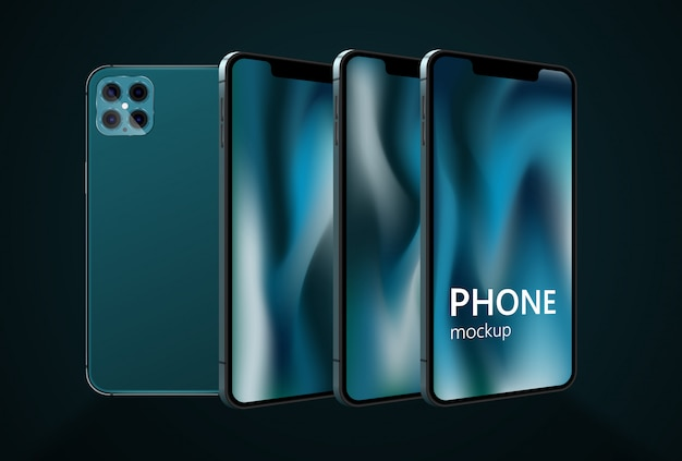 Realistic smartphone mockup, phone x, phone 12. cellphone frame with blank display. mobile device concept
