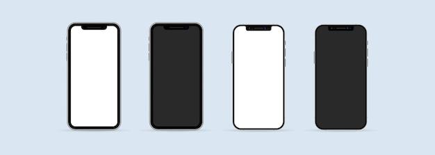 リアルなスマートフォンのモックアップセット。空白のディスプレイ分離テンプレートと電話フレーム。モバイルデバイスの概念。ベクトルeps10。白い背景で隔離。