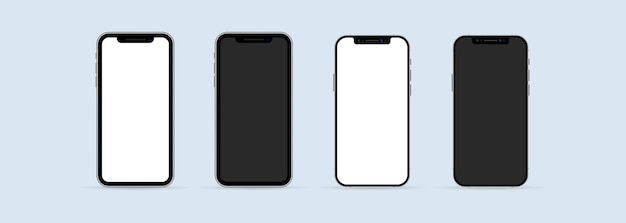 Realistic smartphone mockup set. phone frame with blank display isolated templates. mobile device concept. vector eps 10. isolated on white background.