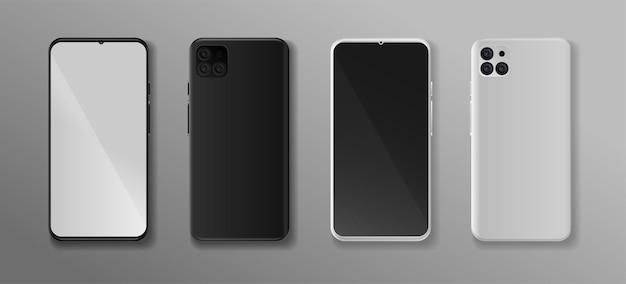 전면 및 후면 벡터 휴대폰 모형이 완전히 편집 가능한 현실적인 스마트폰 모형