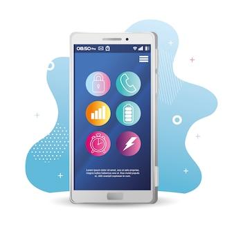 画面上のアイコンを設定した現実的なスマートフォンのモックアップ