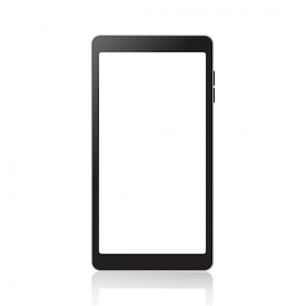Realistic smartphone mockup with white screen