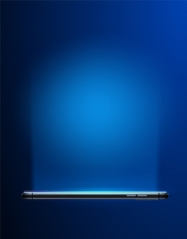 조명 화면과 파란색에 현실적인 스마트 폰