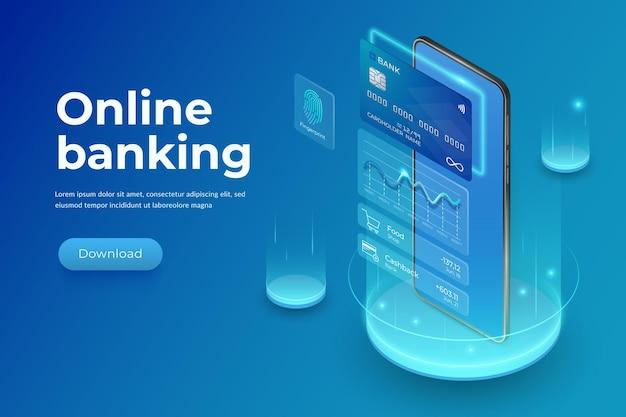 現実的なスマートフォンのプラスチッククレジットカードとインターフェイス要素インターネットバンキングの概念