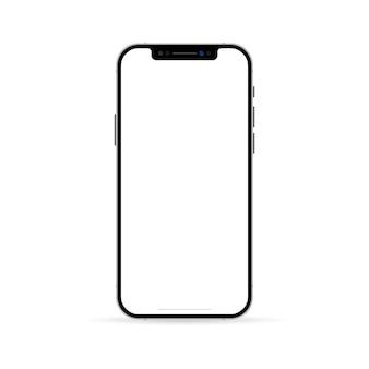 リアルなスマートフォン画面のモックアップ。空白のディスプレイ分離テンプレートと電話フレーム。モバイルデバイスの概念。ベクトルeps10。白い背景で隔離。