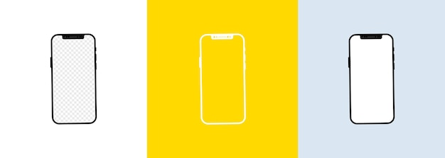 Realistic smartphone screen set. phone frame with blank display isolated templates.