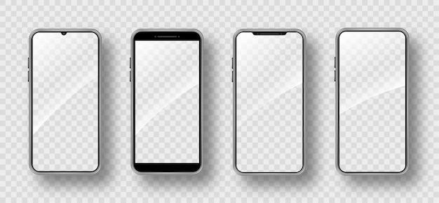 Реалистичный набор смартфонов. рамка мобильного телефона с пустым дисплеем. изолированная иллюстрация на прозрачном фоне