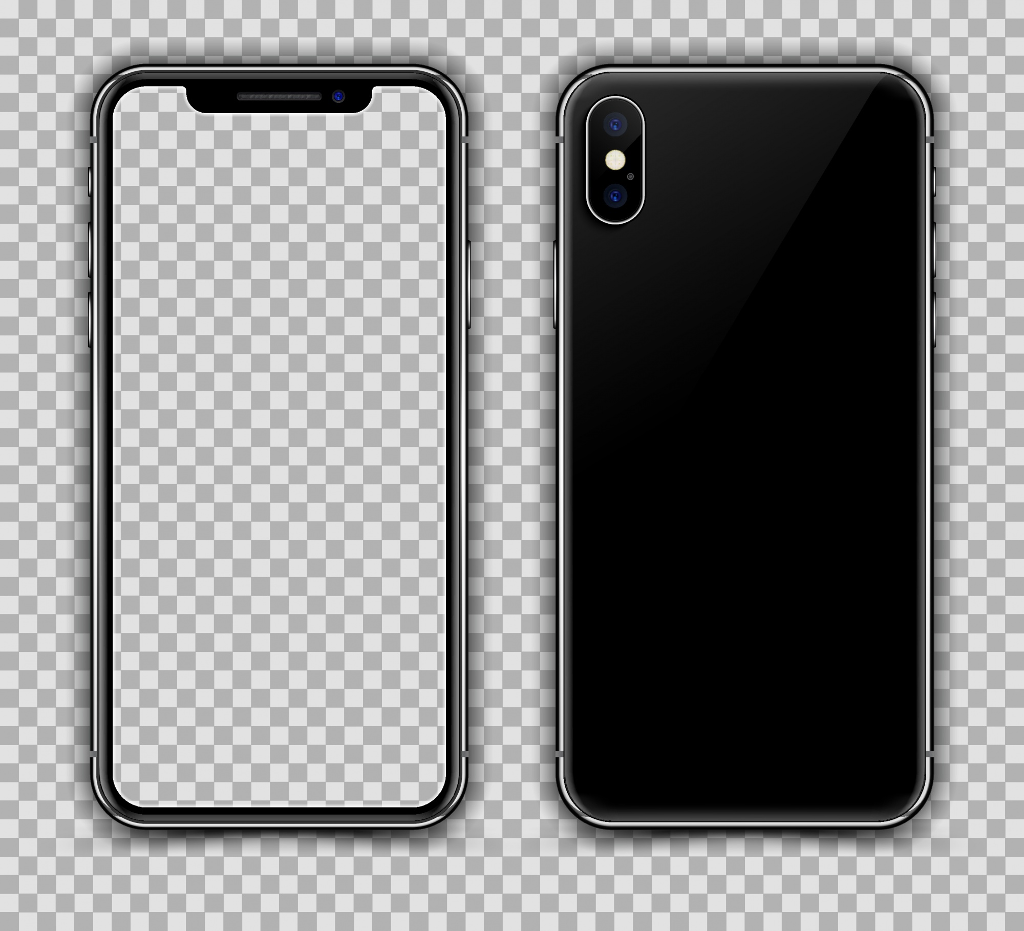Realistic Smartphone Similar to iPhone X. Front and Rear View.