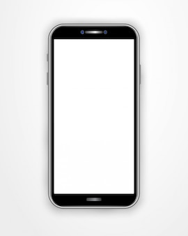 Realistic smartphone template with blank screen isolated on white background.