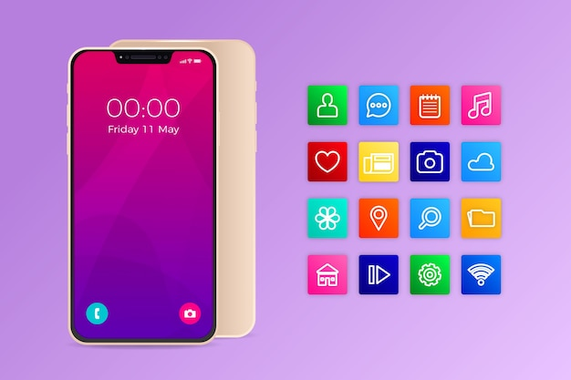 Реалистичный смартфон с приложениями в градиентных фиолетовых тонах Бесплатные векторы