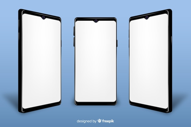 Realistic smartphone with mock-up
