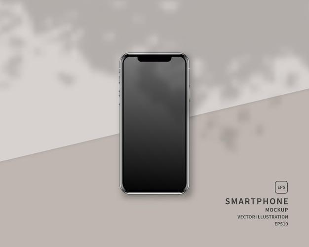 Realistic smartphone  with shadow overlay.  scene.