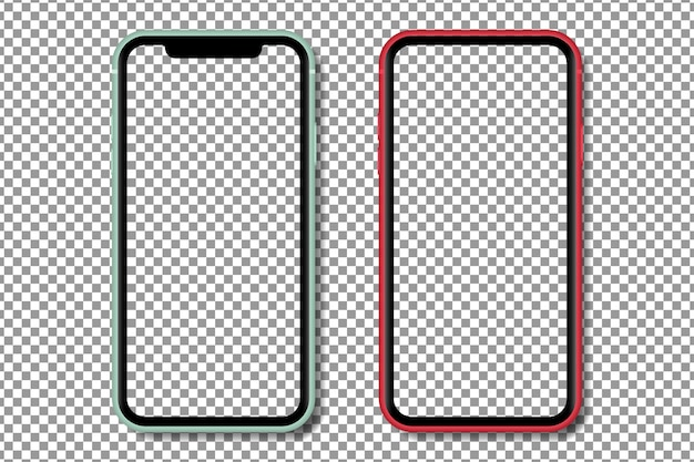 Realistic smartphone with with transparent screen. smartphone mockup isolated on transparent background. realistic illustration.