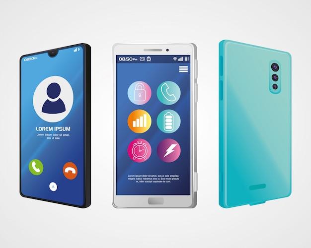 화면에 전화 및 아이콘이있는 현실적인 스마트 폰 모형