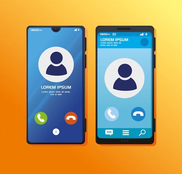 ディスプレイに電話をかける現実的なスマートフォンのモックアップ