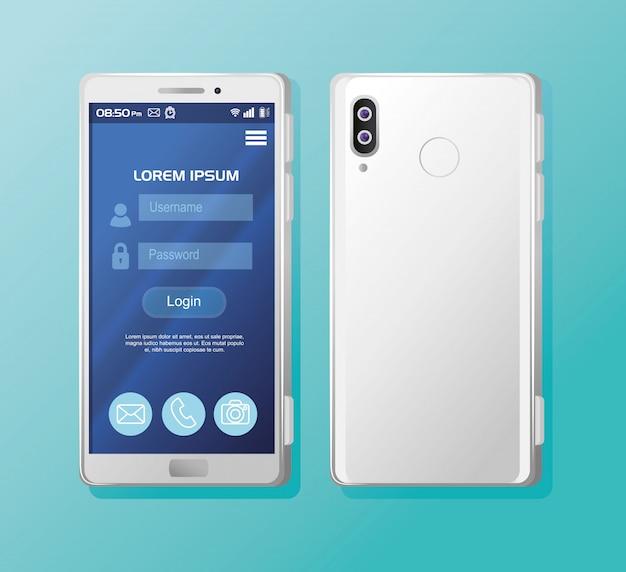 画面にログインする現実的なスマートフォンのモックアップ
