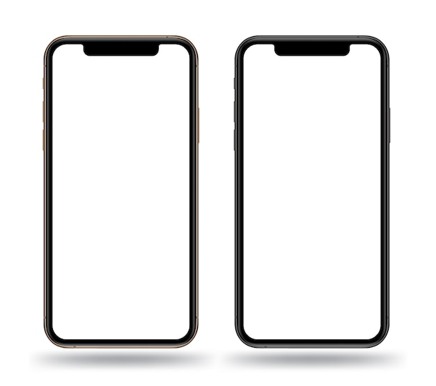 Realistic smartphones mockups gold and black color.