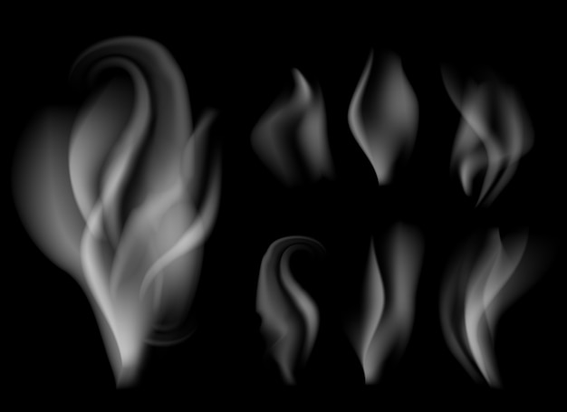 Realistic smoke on black background vector illustration