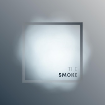 Realistic smoke cloud with frame on grayscale gradient background. vector illustration.