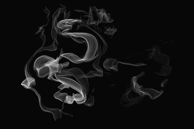 黒の背景の現実的な煙要素ベクトル