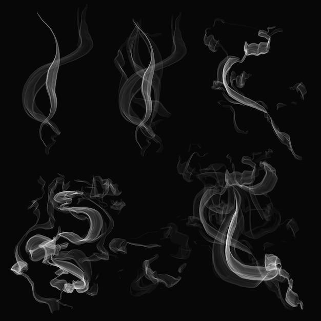 검은 배경에 현실적인 연기 요소 벡터 설정
