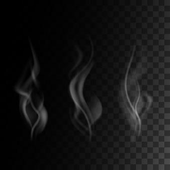 透明なdarck背景、イラストに設定された現実的な煙