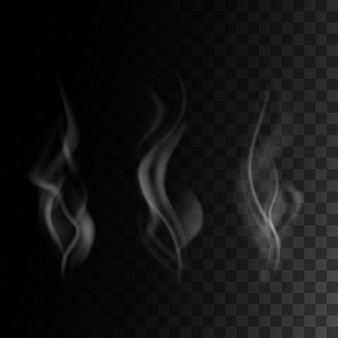 Realistic smoke set  on transparent darck background,  illustration