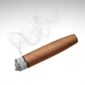 白い背景で隔離のリアルな喫煙葉巻